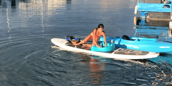 – Getting out of the water is now easier – Example of getting back on a paddle-board.