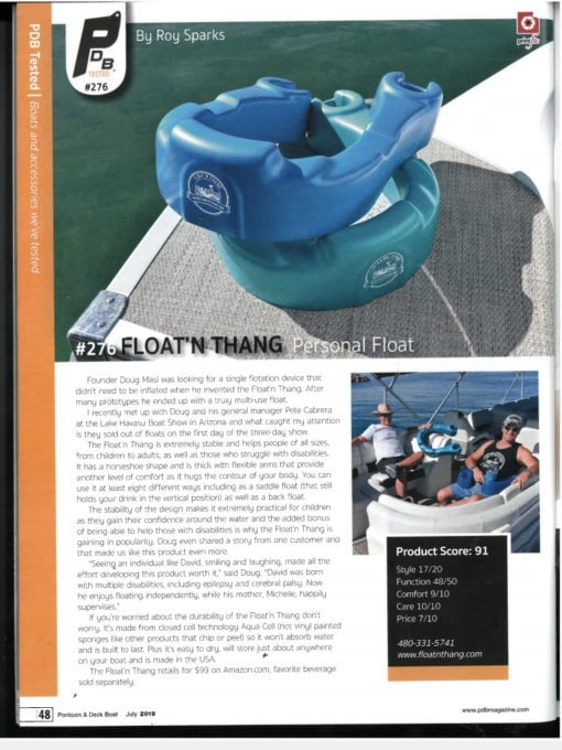 Floatnthang Personal Flotation gets Reviewed by Pontoon and Deckboat Magazine